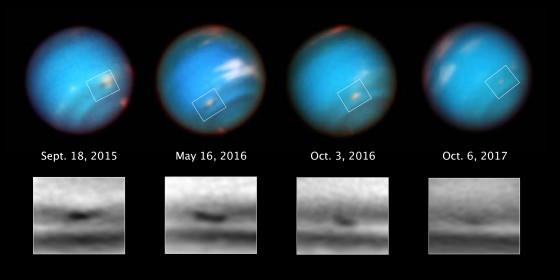 哈勃太空望遠鏡首度捕捉到海王星暗斑正在縮減的過程