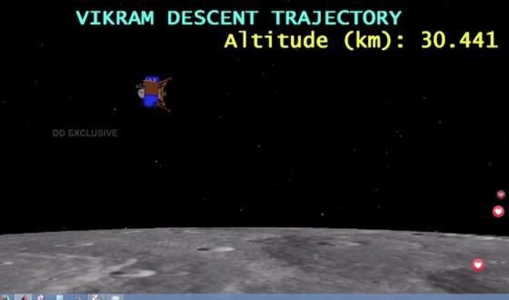 印度域金登月艙開始下降月球南極地區